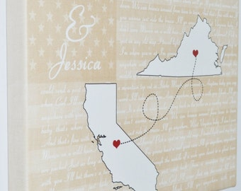 Custom flag canvas art, 2nd wedding anniversary present, cotton anniversary gift, unique newlywed gift, special song lyrics, two state maps