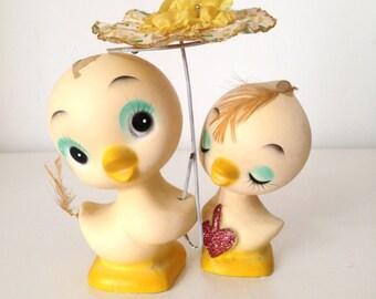 SALE- Vintage yellow duck lovers plaster figurines