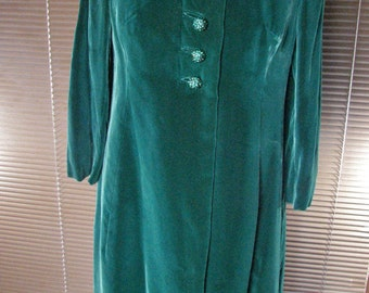 1950s Dark Green Velvet Coat with Bow and OUTRAGEOUS Crystal Dome Buttons / by Hannah Troy and  sold at Lord and Taylor    size Medium