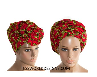 Red Head wraps / African Headwrap / African Print / African Fabric/ Turban headwrap / African Head scarf/   HT147