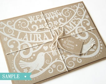 Paper Cut - Love Birds Wedding Invitation SAMPLE