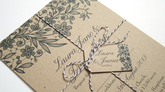 Wedding Invitations Recycled Paper: Printed Lace Eco Wedding Invitation SAMPLE