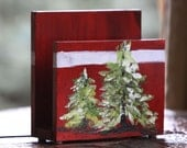 Napkin Holder Mini - Burgundy w/Snowy Tree - Item #125B