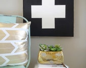 Black sign white swiss army cross rustic wood sign