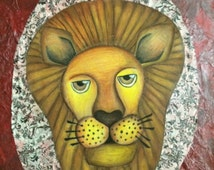 Hear Me Roar: Mixed Media Painting with Tissue Paper, Acrylic Paint, and Color Pencil