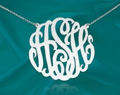 Monogram Necklace - 1.5 inch Sterling Silver Handcrafted Designer - Personalized Monogram - Made in USA