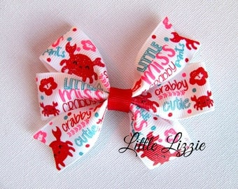 Crab pinwheel hair clip beach girl toddler