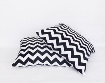 2 pcs Black White Chevron Decorative Pillow Cover,Throw pillow, Home Decorative Zig Zag Pillow, All Sizes12,14,16,18,20,22,24,26,28,30 inch