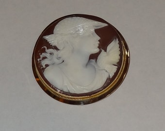 Vintage 18k Yellow Gold Mercury Cameo Brooch and Pendant