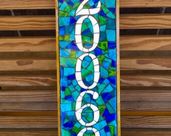 Mosaic Address Plaque, Address Sign, Outdoor Address Sign, Mosaic Sign, Street Sign