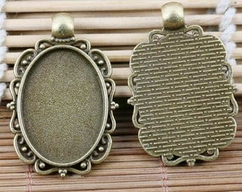 3pcs antiqued bronze color oval cameo cabochon setting frame EF2110