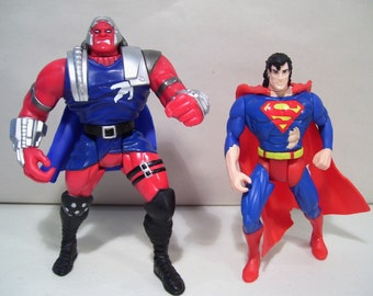 Lot of 2 Vintage Superman & Massacre Action Figures, 1995, DC Comics Kenner, Man of Steel, New