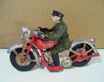 Vintage Cast Iron Patrol Motorcycle & Rider Toy