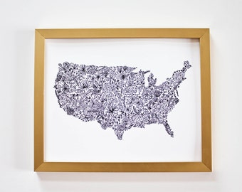 Floral United States Map