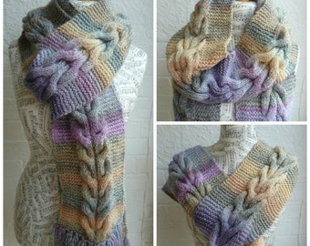 Long Cable Knit Scarf - Women Hand Knit Cabled Scarf - Super Long Fringe Scarf - Pastel Lilac Cream Peach Knit Wrap Snood - ClickClackKnits