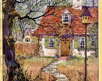 1920s Cosy COTTAGE VINTAGE  ILLUSTRATION.  Digital Cottage Download.