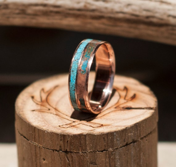 Mens Wedding Band Patina Copper & Turquoise Ring Staghead