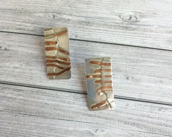 Silver and copper stud earrings -organic shapes -bold earrings -asymmetric earrings -gift for her -geometric jewellery -contemporary jewelry