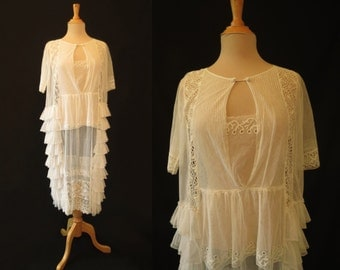Ruffled Net Lace Wedding Dress - 1920s