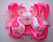 Girls Toddlers Infants Large Double Stacked Twisted Boutique Bow w/Spikes Hot Pink Lavender Embroidered Custom Bunny Feltie