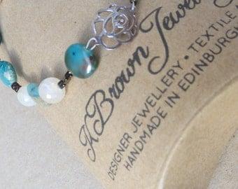 Handmade Gemstone Bracelet, Agate Gemstone Bead Bracelet, Blue Jasper Gemstone Bracelet, GemstoneTurquoise Bracelet, Rose Charm Bracelet, UK