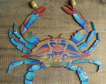 Hand Painted Metal Traditional Maryland Blue Crab Wall Hanging Beach House, Nautical Decor