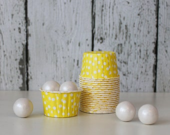 CANDY CUPS - Yellow with White Dots - Set of 20 : The Paper Doll