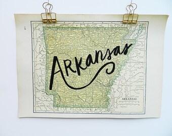 Arkansas Vintage State Map