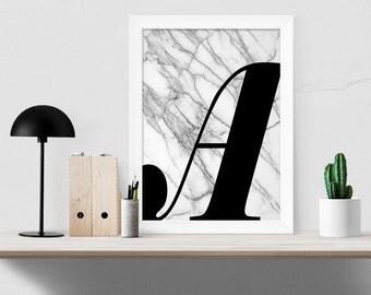 Marble Monogram Print, Large Single Letter Poster, Scandi Style, Modern Minimalist Art, Any Letter, Black and White Monochrome, Modern Gift