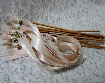 25 Tea Stain Triple Ribbon Lace Wedding Wands