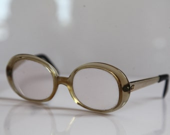 Vintage  Crystal Beige Frame,  Gold Temples, RX Prescription Lenses.