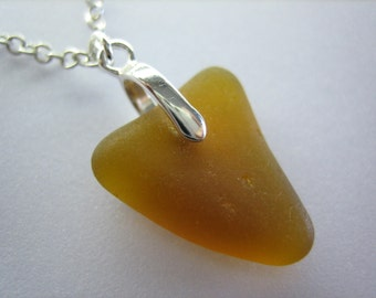 GENUINE SEA GLASS Heart Necklace Sterling Silver Flawless Amber Brown Real Surf Tumbled Natural Beach Found Seaglass Pendant Jewelry  N 610d