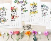 Printable Wisdom Calendar 2016, Inspirational quotes printable 2016 calendars, quote art print, month year desk watercolor calendar