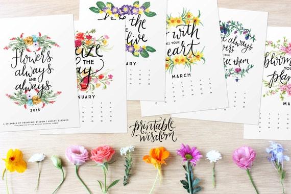 Calendar Inspirational 2016 : Items similar to printable wisdom calendar