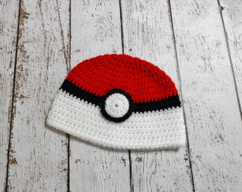 Crochet Red and White Ball Hat- Newborn to Adult