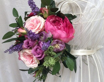 Artificial Silk Country Style Pinks Purples Mixed Summer Roses Bouquet