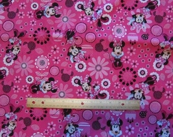Pink Minnie Mouse Flowered Cotton Fabric by the Yard