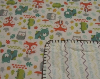 Woodland/Fox/Bear/Owl/Turtle/Hush Little One Chevron Double-sided Flannel Baby/Toddler Blanket