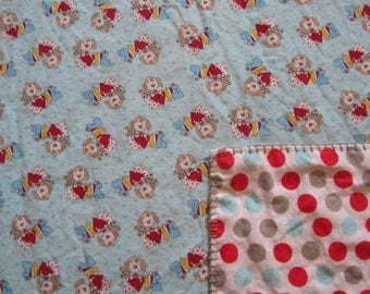 Blue Girly Dog/Puppy Love/ Polka Dot Double-sided Flannel Baby/Toddler Blanket