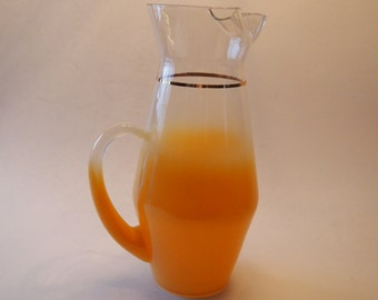 Mid Century West Virginia Glass Frosted Blendo Pitcher