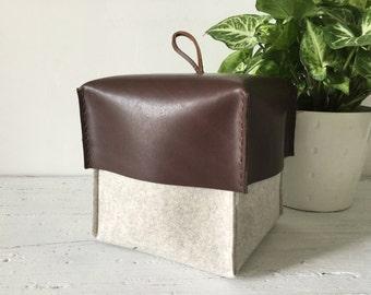 Felt Box with Leather Lid, Felt Storage Bin, Felt Organizer, Felt Container, Felt Storage Basket, Bathroom Storage, Living Decor.