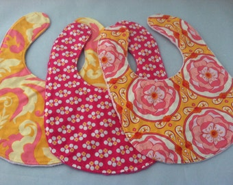 Set of Three Boutique Baby Bibs...Orange and Pink Floral...Ready to Ship...Shower Chic