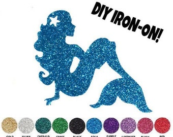 Diy MERMAID IRON ON, Vinyl Applique, Logo, Decal, Shirt, Tank, Party Favor, Kids, Toddler, Child, Adult, Clothing Accessory, Patch, Transfer