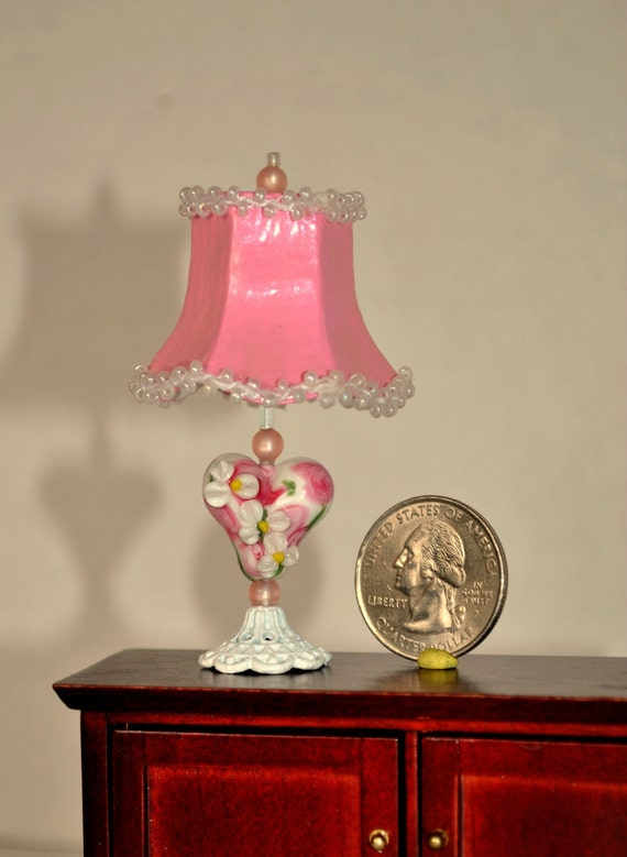 ... Bead Lamp, Non Working Dollhouse Fancy Lamp with Beaded Lampshade