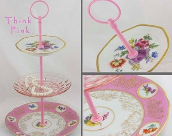 3 Tier Server Jewelry Display Stand Pink Floral China Tiered Serving Tidbit Tray  Hostess Gift Vintage Server High Tea