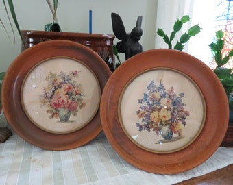 Vintage Pair of Botanical Flower Prints in Round Wood Frames/Signed M Black