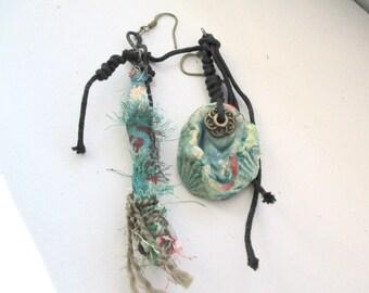 Asymmetrical earrings, earrings with raku ceramic , earrings with fabric