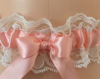 Peach and Ivory Lace Wedding Garter, Bridal Garter, Prom Garter, Garter Belt, Lace Garter, Plus Size Garter