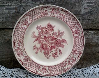 "Masons ""STRATFORD"" Red Transferware Dinner Plate, 10 1/2"", Serving, Wall Decor, Holiday, English Transferware, Floral, Lattice, Birds"