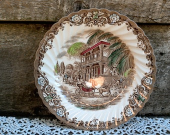 SIDE PLATE, 8 inch, Heritage Hall, French Provincial, New Orleans, Staffordshire England, Wall Decor, Brown Transferware, Appetizer, Serving